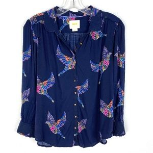 Anthropologie Maeve blouse top Bird print floral